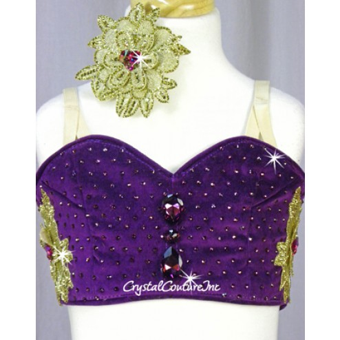 Bright Purple and Gold Platter Two-Piece Tutu - Swarovski Rhinestones - Size YM
