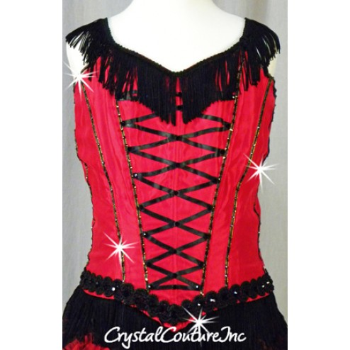 Red/Black 2 Piece Corset Top and Ruffled Lace Skirt - Swarovski Rhinestones - Size AS