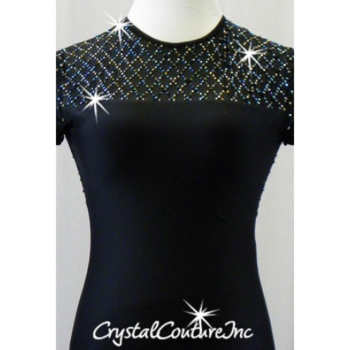 Black Leotard with Open Back and 2 Optional Black Skirts - Rhinestones