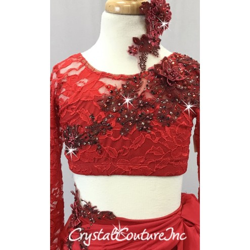 Red Floral Lace Crop Top and Trunk/Chiffon Draped Skirt - Swarovski Rhinestones - Size YL