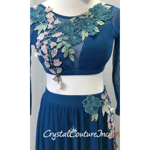 Teal Mesh 2-Piece Long Sleeve Crop Top and High-Low Skirt w/Teal and Pink Floral Appliques - Swarovski Rhinestones - Size AS