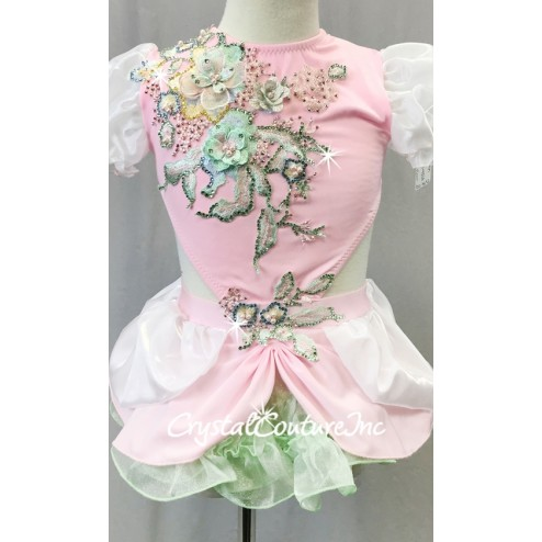 Light Pink/Green/White Connected 2-Piece w/ Full Skirt and Floral Appliques - Swarovski Rhinestones - Size YM