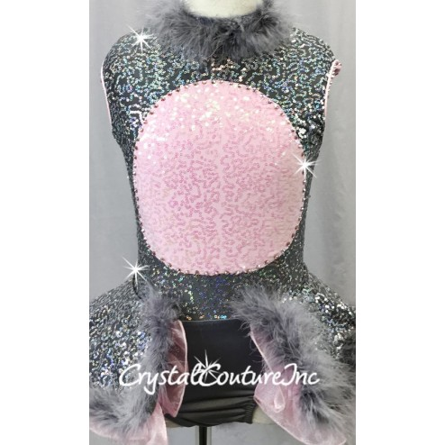 Mouse Inspired Grey and Pink Zsa Zsa Sequin Dress w/Grey Feather Accents - Swarovski Rhinestones - Size YS