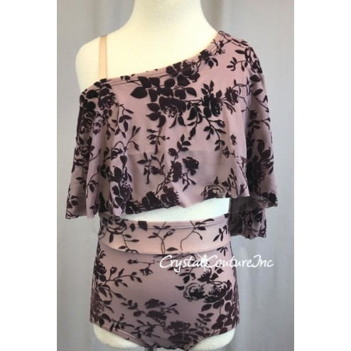 Dusty Plum Sheer Mesh and Velour Patterned Asymmetrical Top and Trunk - Size YM
