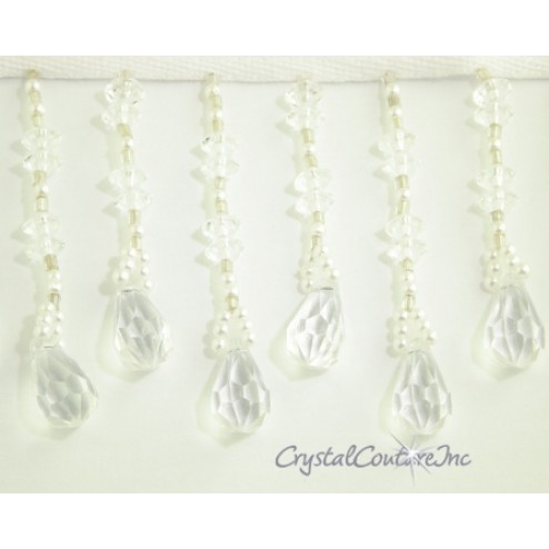 Crystal Pendant and Silver/Pearl Beaded Fringe Trim