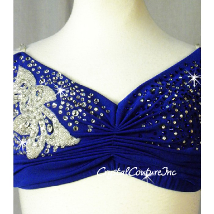 encore costume couture royal blue bra top trunk half sklirt with appliques swarovski. Black Bedroom Furniture Sets. Home Design Ideas