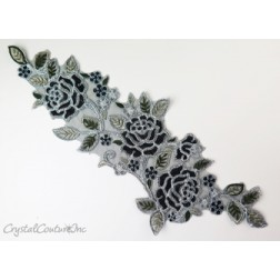 Black and Silver Floral Lace Embroidered Applique