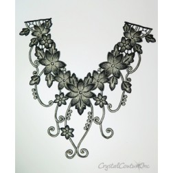 Black/Ivory Floral Lace Embroidered Applique