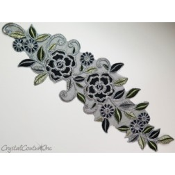 Black/Silver Floral Lace Embroidered Applique