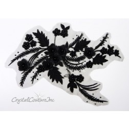 Black 3D Floral Embroidered/Pearl Applique