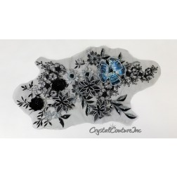 Black/Teal/Metallic Silver Floral Lace Embroidered Applique