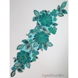 Teal Blue Floral Lace Embroidered Applique
