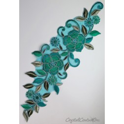 Teal Blue/Silver/Green Floral Lace Embroidered Applique