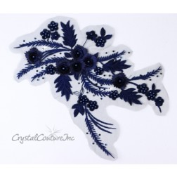 Navy Blue 3D Floral Embroidered/Pearl Applique
