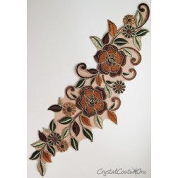 Bronze/Copper/Tan Floral Lace Embroidered Applique