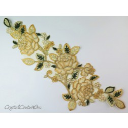 Gold/Ivory Floral Lace Embroidered Applique