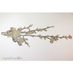 Gold/Black Long Floral Lace Embroidered Applique