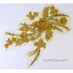Gold 3D Floral Embroidered/Pearl Applique