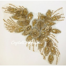 Metallic Gold and Silver 3D Floral Embroidered/Beaded Applique