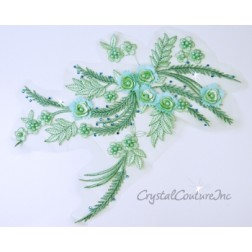 Seafoam Green 3D Floral Embroidered/Pearl Applique