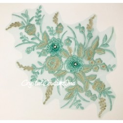 Seafoam Green/Silver Metallic 3D Floral Embroidered Applique