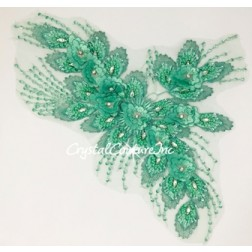 Green 3D Floral Embroidered/Beaded Applique