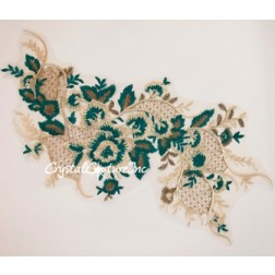 Green/Nude/Gold Metallic Floral Lace Embroidered Applique