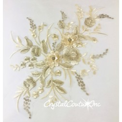 Ivory/Champagne 3D Floral Embroidered Applique