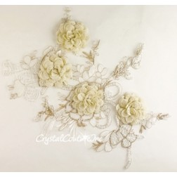 3D Ivory with Metallic Gold Floral Embroidered Applique with White Beads