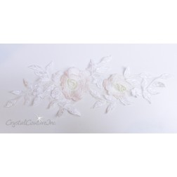 Ivory/Blush Floral Embroidered Applique