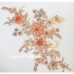 Coral/Ivory/Pink 3D Metallic Floral Embroidered/Pearl Applique