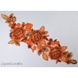 Orange/Red Floral Lace Embroidered Applique