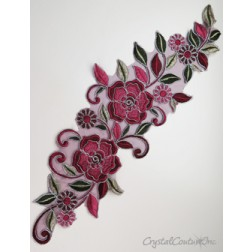 Burgundy/Rose/Green Floral Lace Embroidered Applique