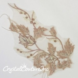 Vintage Pink/Ivory Floral Embroidered Applique with Feathers