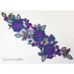 Purple/Teal Blue Floral Lace Embroidered Applique