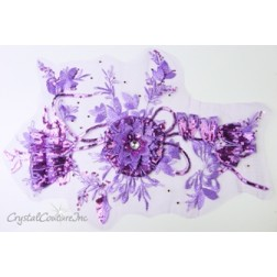 3D Lt Purple Embroidered Applique