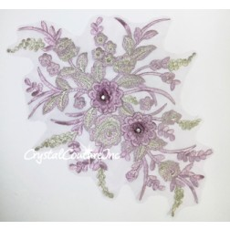 Purple/Silver Metallic 3D Floral Embroidered Applique