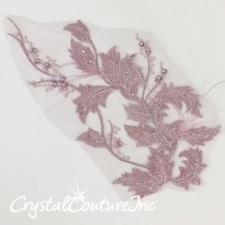 Dusty Purple Floral Embroidered Applique with Feathers