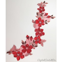 Red/Metallic Silver/Nude Floral Lace Embroidered Applique