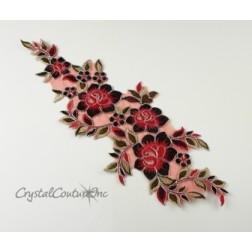 Red/Black/Silver Floral Lace Embroidered Applique