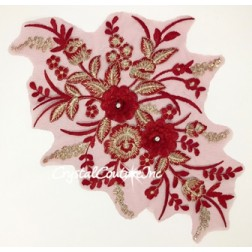 Wine/Lt Gold Metallic 3D Floral Embroidered Applique