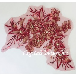 3D Wine with Metallic Lt Gold Floral Embroidered Applique with Wine Sequins