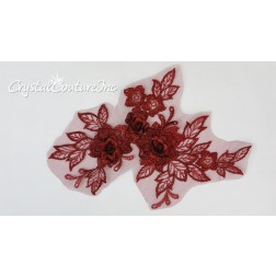 3D Wine Small Floral Embroidered Applique