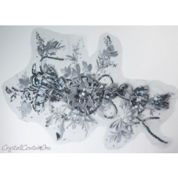 3D Silver/Graphite Embroidered Applique
