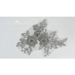 3D Silver Small Floral Embroidered Applique