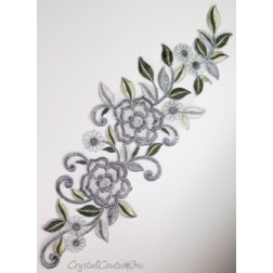 Silver/Gray Floral Lace Embroidered Applique
