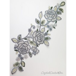Silver/Ivory Floral Lace Embroidered Applique