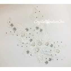 White 3D Floral Embroidered/Pearl Applique