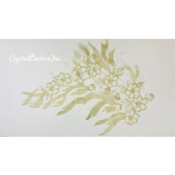 White/Metallic Gold Floral Embroidered Applique