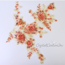 Soft Yellow/Coral 3D Flower Embroidered Applique/Trim